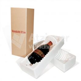 Flaschenverpackung für 1 Flasche mit Styroporbox
